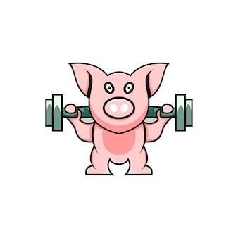 Cute pig illustration exercising cartoon style