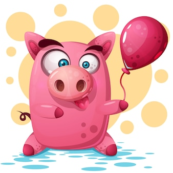 Cute pig illustration with balloon. symbol of the year 2019.