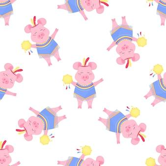 의상과 탬버린을 가진 귀여운 돼지. 재미있는 돼지. 보육, 직물, 섬유, 아동복을 위한 매끄러운 패턴입니다.