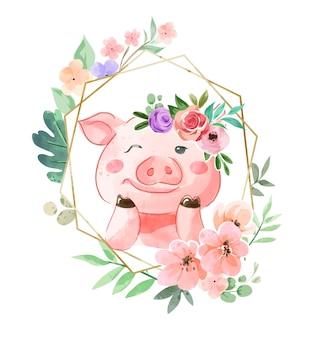 花の冠と花のフレームのイラストでかわいいブタ