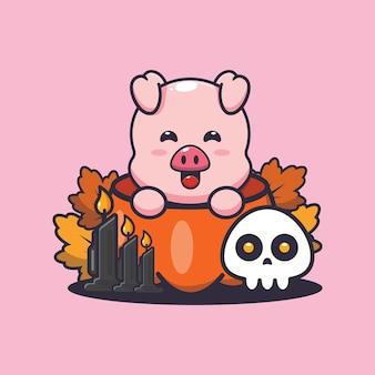 할로윈 호박에 귀여운 돼지 귀여운 할로윈 만화 일러스트 레이션