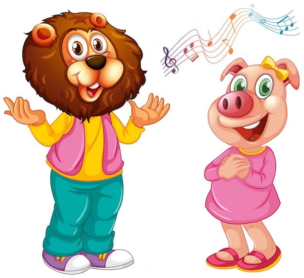 인간과 같은 포즈에 귀여운 돼지 절연-사자와 돼지 노래