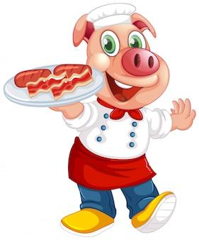 고립 된 인간 같은 포즈에 귀여운 돼지