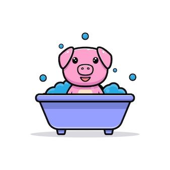 Cute pig inside bathtub mascot character