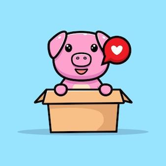 Cute pig inside box mascot character