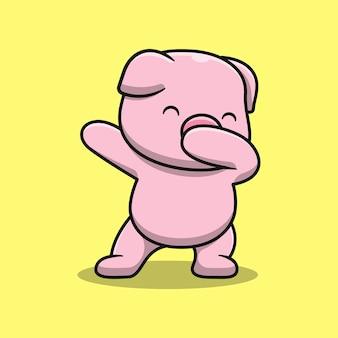 かわいい豚は漫画イラストを踊っています