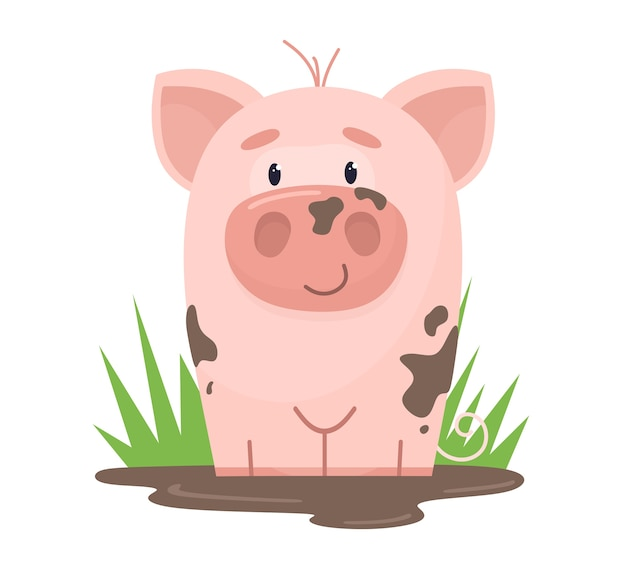 A cute pig is sitting in a mud puddle.  in cartoon flat style.