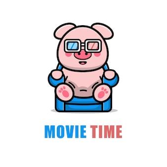 Cute pig is watching a film cartoon illustration