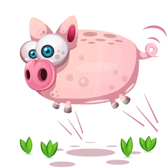 Cute pig jump. symbol of the year 2019.