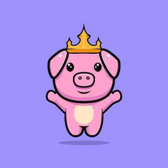 귀여운 돼지 왕 점프 마스코트 캐릭터
