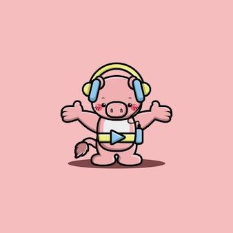 Cute pig listening music with headphone cartoon character