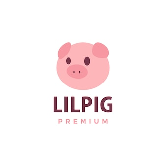 Cute pig  logo  icon illustration