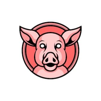 かわいいブタのロゴ