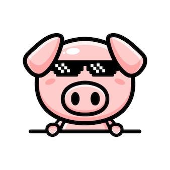 Cute pig mascot character design Premium Vector