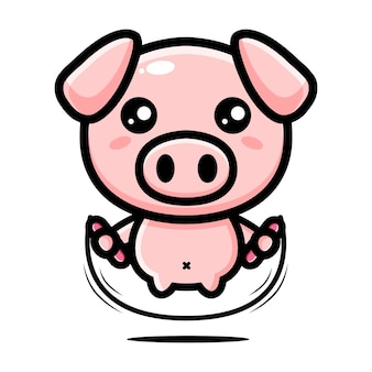 Cute pig mascot character design