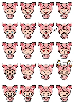 Cute pig mascot set design