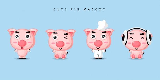 Cute pig mascot set