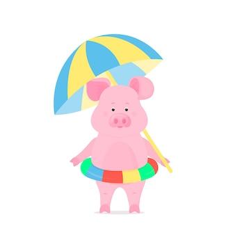 Милая свинья на пляжном отдыхе с надувным плавательным кругом и зонтиком от солнца. забавное животное. копилка мультипликационный персонаж. символ китайского нового года 2019.