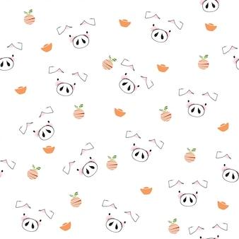 Cute pig pattern background.