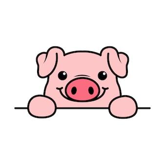 귀여운 돼지는 벽 위에 발