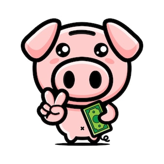 Милый свинья копилка дизайн талисмана
