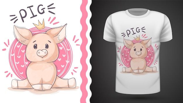 Cute pig, piggy - idea for print t-shirt