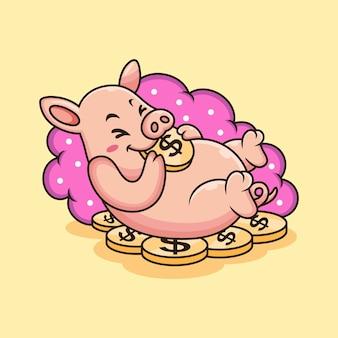 귀여운 돼지 재생 동전 만화. 베이지 색 배경에 고립 된 동물 그림