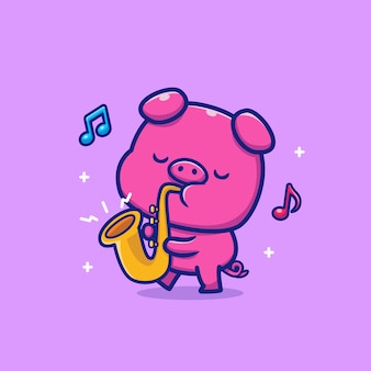 Cute pig playing saxophone