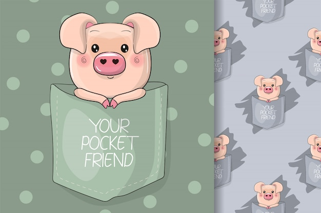 Cute pig on the pocket for kids