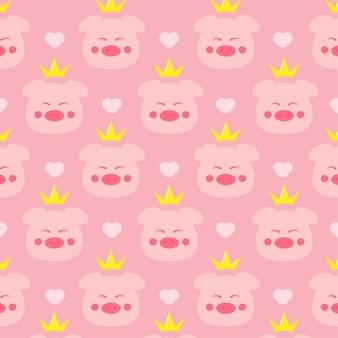 Cute pig princess seamless pattern