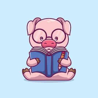 かわいい豚読書本漫画イラスト