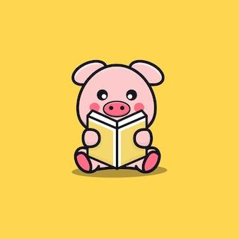 Cute pig reading book cartoon illustration