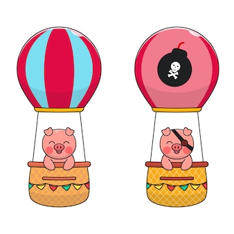 Cute pig ride air balloon
