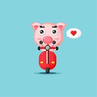 古典的なバイクに乗ってかわいい豚