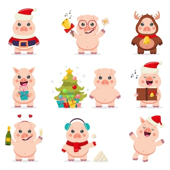 Cute pig in santa claus costume vector cartoon characters set isolated on a white background.