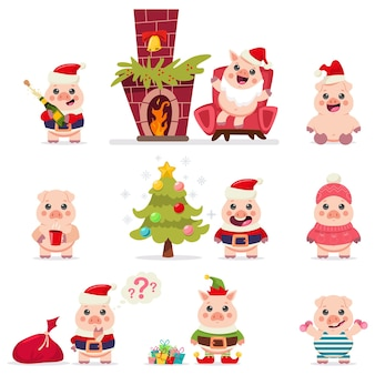 Cute pig in santa claus costume vector set. christmas cartoon funny animal character isolated on a white background.