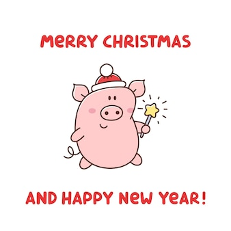 Cute pig in santa claus hat with bengal fire