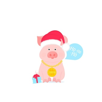 Cute pig in a santa claus hat with a gold medal on a chain.