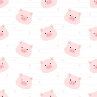 Милая свинья бесшовный фон