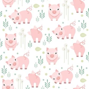 Cute pig seamless pattern on white background. farm animal pattern