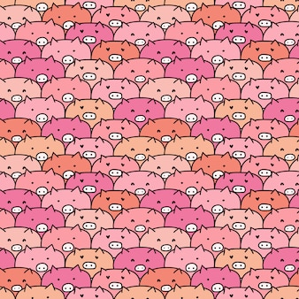 Cute pig seamless pattern.