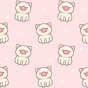 Cute pig seamless pattern