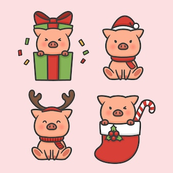 Cute pig set costume christmas hand drawn cartoon vector