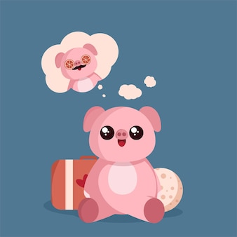 Милая свинья сидит и смотрит иллюстрацию