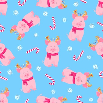Cute pig sitting in a scarf and with deer horns with a garland. funny piggy. christmas candy seamless pattern for new year