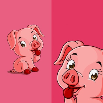 Cute pig sitting and smiling shyly, with different display angle position, hand drawn