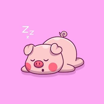 Симпатичные свинья спящая иконка иллюстрация. плоский мультяшный стиль