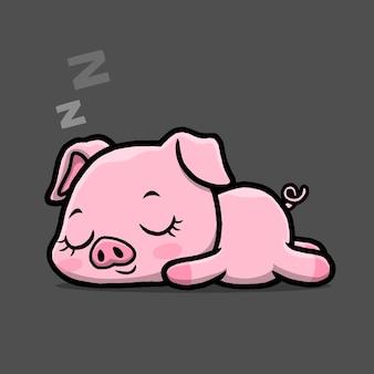 黒い背景で隔離眠っているかわいい豚。