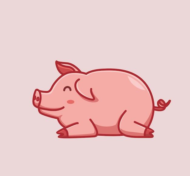 게으른 잠자는 귀여운 돼지. 만화 동물 자연 개념 격리 된 그림입니다. 스티커 아이콘 디자인 프리미엄 로고 벡터에 적합한 플랫 스타일. 마스코트 캐릭터