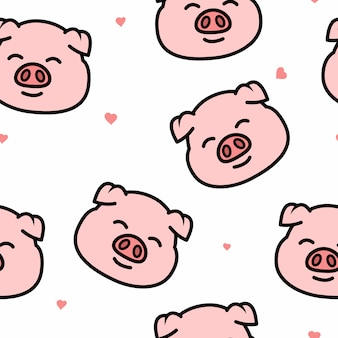 Cute pig smiling face cartoon seamless pattern